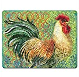 Highland Graphics Fancy Pants Rooster Tempered Glass Cutting Board, 15 by 12-inch