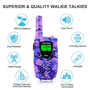 FAYOGOO Kids Walkie Talkies, 22-Channel FRS/GMRS Radio, 4-Mile Range Two Way Radios with Flashlight and LCD Screen (Purple) (Color: Purple)