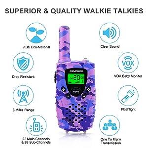 FAYOGOO Kids Walkie Talkies, 22-Channel FRS/GMRS Radio, 4-Mile Range Two Way Radios with Flashlight and LCD Screen (Purple) (Color: Purple)