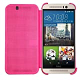 Heartly Dot View Touch Sensative Flip Thin Hard Shell Premium Bumper Back Case Cover For HTC One M9 - Cute Pink