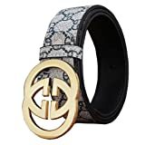 DUKAGE GG Plus Monogram Leather Belt for Mens and Womens(110-130cm) (monogram gold, 33-36 inch, 115cm)