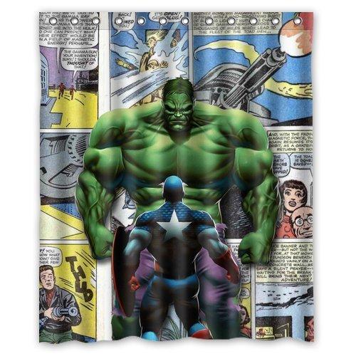 Custom Unique Design Cartoon Superhero Hulk Waterproof Fabric Shower Curtain, 72 By 60-Inch