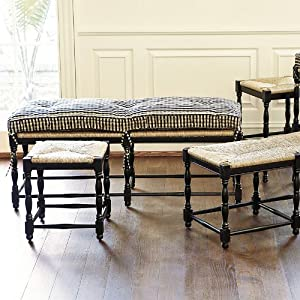 Farmhouse 3 seat bench cushion ticking for Ballard designs bench seating