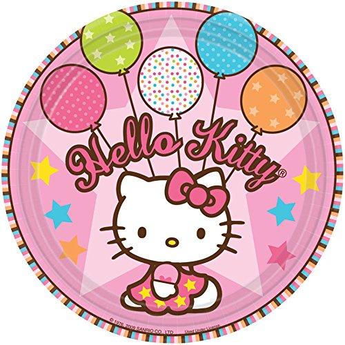 "Amscan Hello Kitty Balloon Dreams 7"" Paper Plates, 8-Count"