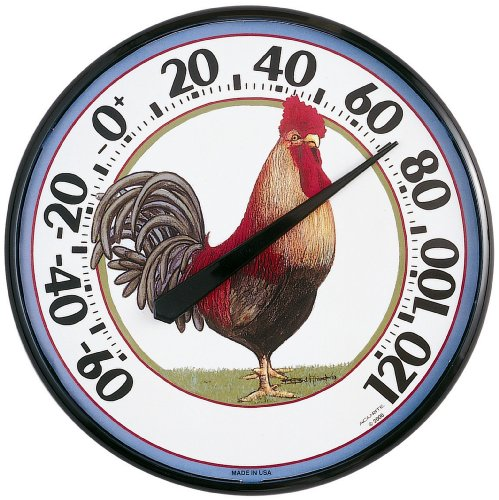 Chaney Instruments Acu-Rite 01733 12-1/2-inch-Diameter Rooster Thermometer