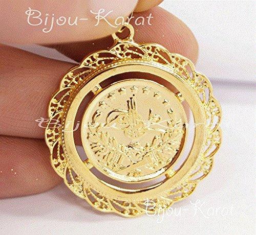 Bijou-Karat-Resat-Altin-Ceyrek-Tugra-Kette-Gold-GP-Mnze-Anhnger-24-Karat-vergoldet-34-mm