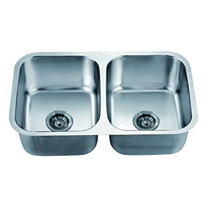 Dawn ASU109 Undermount Equal Double Bowl Sink, Polished Satin