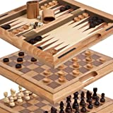 Chambers Street Wooden Chess, Checkers & Backgammon Combonation