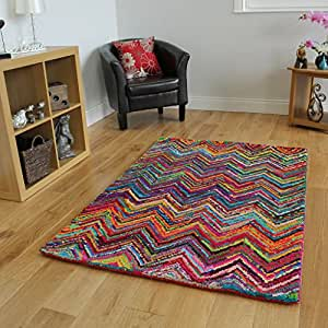 Cairo vibrant multi coloured modern living room rugs 2 for Living room rugs amazon