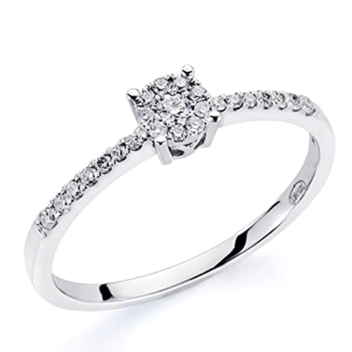 18k white gold ring sparkling diamonds 0,18ct [7422]