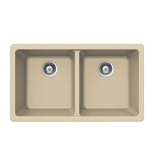 Houzer M-200U SAND Quartztone Series Granite Undermount 50/50 Double Bowl Kitchen Sink, Biscuit