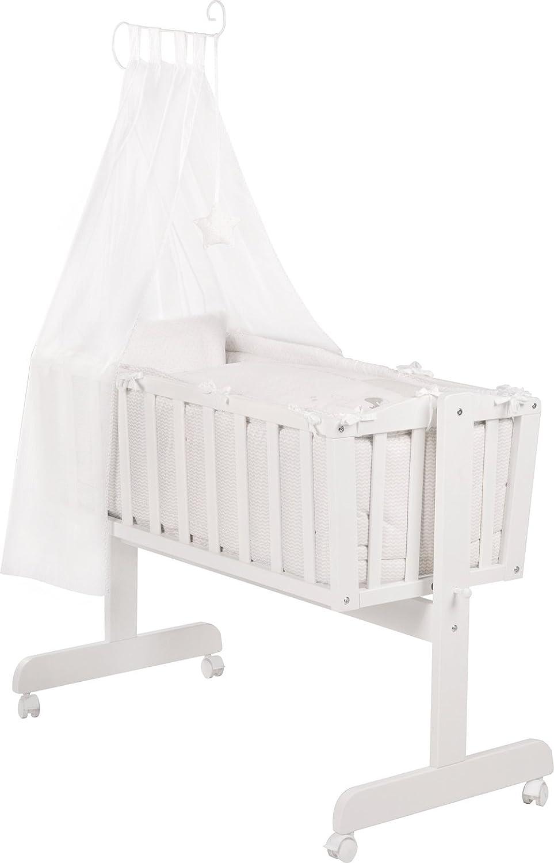 Komplettwiege in weiß mit Feststell-Funktion, Bremsrollen und kompletter textiler Ausstattung, Liegefläche: ca. 90 x 40 cm online bestellen