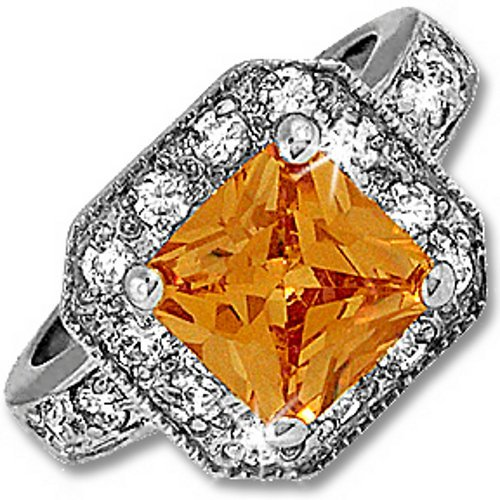 Silver Princess Champagne Cubic Zirconia Cocktail Ring (6)