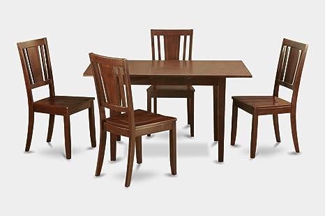 East West Furniture NODU5-MAH-W 5-Piece Kitchen/Dinette Table Set