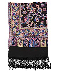 Vinatge Viscose Black Stole 80x40 Paisley Self Weaved shawl By Rajrang