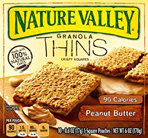 Nature Valley Granola Thins, Peanut Butter, 6-Ounce, 10 count (Pack of 6 )