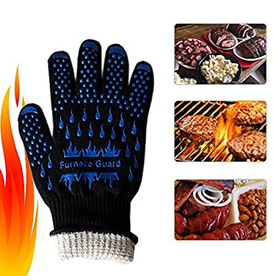 BBQ Grill Heat Resistant Cooking Oven Gloves (Pair) - Up to 932°F Kevlar Nomex Aramid Protection with Non-slip Silicon Grip - Breathable & Washable with Long Cuff