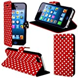 eFuture(TM) Red/White Polka Dot Leather Flip With Stand Case Cover fit for the new iPhone5/5G +eFuture's nice Keyring