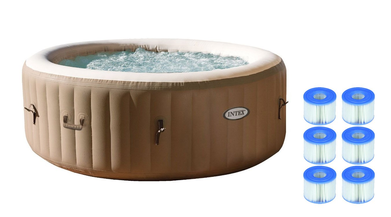Intex Pure Spa 4-Person Inflatable Portable Hot Tub w/ Six Filter Cartridges