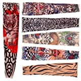 6 x Rock Fake Tattoo Arms / Legs Stockings Sleeves Stretch Temporary Funky Fancy Dress Costume Novelty Designs