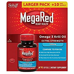 MegaRed Extra Strength Omega 3 Krill Oil 500mg Supplement, 90 Count