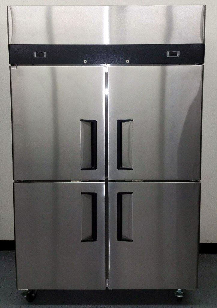 "48"" 4 Door Refrigerator and Freezer Combo Stainless Steel Reach in Commercial Fridge/Freezer, 30.2 Cubic Feet, Dual Digital Thermostats, for Restaurant"