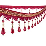 Wildgirl Curtain Fringe Crystal Beading Tassel Macrame 12.5 Yards (Claret) (Color: Claret)