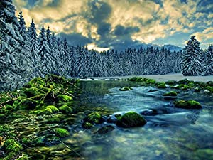 Amazon.com: Winter River - Art Print on Canvas (60x80 CM, unframed