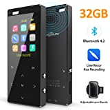 MusRun MP3 Player, 32GB MP3 Player with Bluetooth 4.2 (Support TWS Earbuds) and Internal Speaker, with HiFi AUX Recording, Armband Pedometer FM Radio and Recording, Metal Shell. Nice Packing (Color: 32GB with AUX recording)