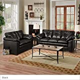 Simmons Upholstery 6569 S Duxbury Bonded Leather Sofa and Loveseat Set Color: Sebring Black