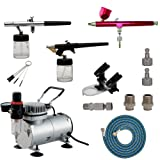 HUBEST Airbrush Compressor kit Multi-Purpose Professional Airbrushing System with 3 Airbrushes in 0.3MM, 0.35MM, 0.8MM, Quick Coupler, Air Hose, Holder (Tamaño: tool-3)