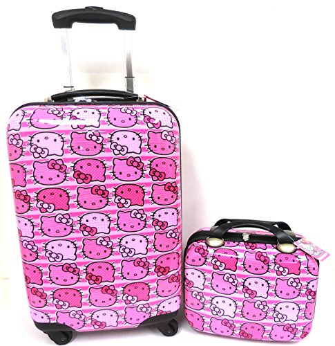Hello-Kitty-All-Over-Heads-Print-20-Pink-ABS-Luggage-and-Matching-Cosmetic-Case-2pcs-Set
