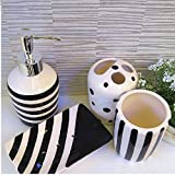 Fashion Black and White 4 Piece Bath Ensemble , Ceramic Bathroom Accessory Set with Soap Dish, Lotion Dispenser, Toothbrush Holder & Tumbler
