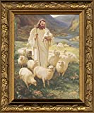 "Sallman Christ As Shepherd Framed Print with Easel for Standing 4"" X 5"""