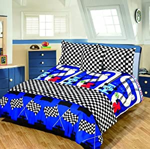 DOUBLE BED SIZE RACING CAR DESIGN DUVET COVER SET + CUSHION + BED RUNNER