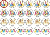 DISNEY PRINCESS 24 EDIBLE WAFER - RICE PAPER CAKE TOPPERS EACH DESIGN IS 40mm IN DIAMETER