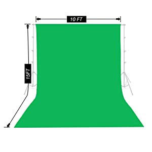 Emart Green Backdrop Background Screen 10 x 15 ft Muslin Photo Video Backdrop Studio, 4 x Backdrop Clamp Included (Color: Green)