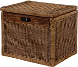 Korb mit Deckel Rattan geflochten Farbe Vintage Braun