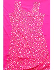 Exotic India Hot-Pink Salwar Kameez Fabric With Crewel Jaal-Embroidery - Pink