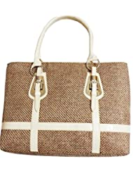 Arc H&H Women Buckle Jute Hand Bag - Brown