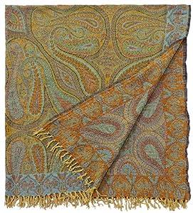 "Amazon.com - ""Feroza"" Paisley Boiled Merino Wool Throw Blanket Gold"