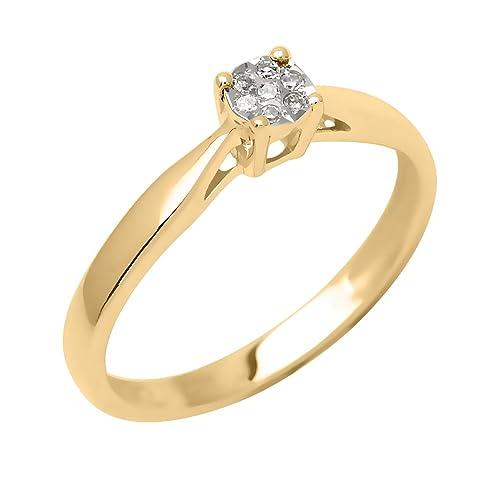Bijoux pour tous Women 9 k (375) Yellow Gold Diamond Rings
