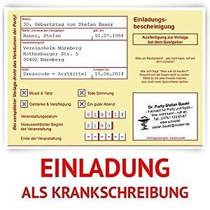 Einladungskarten zum Geburtstag als Krankschreibung Krankmeldung Arbeitsunfähigkeit Karte