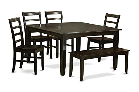 East West Furniture PARF6-CAP-W 6-Piece Dining Table Set, Cappuccino Finish