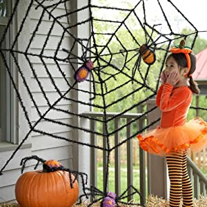 Giant Spider Web and Giant Spiders Halloween Decoration by Evergreen Enterprises, Inc