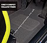 Smart Roadster (2003 to 2006) Grey Car Mats + Yellow Trim