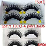 TS013+XM06 5 Pairs +6 pairs Smoking Thick Long False Eyelashes beauty Lashes Party Fake Eye Lashes Makeup(2 boxes)