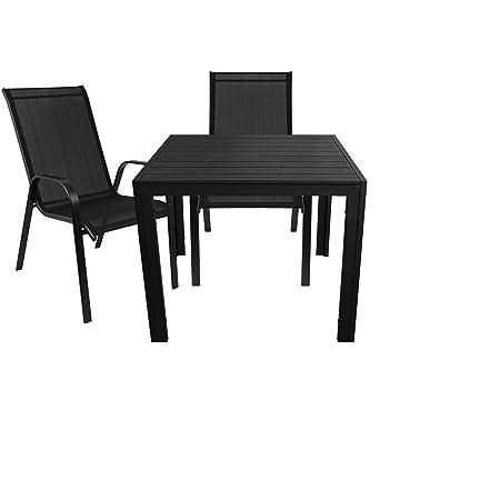 3er Gartenmöbel Set Aluminium Gartentisch mit Polywood-Tischplatte 90x90cm + 2x Stapelstuhle Stahlgestell pulverbeschichtet mit Textilenbezug - Schwarz