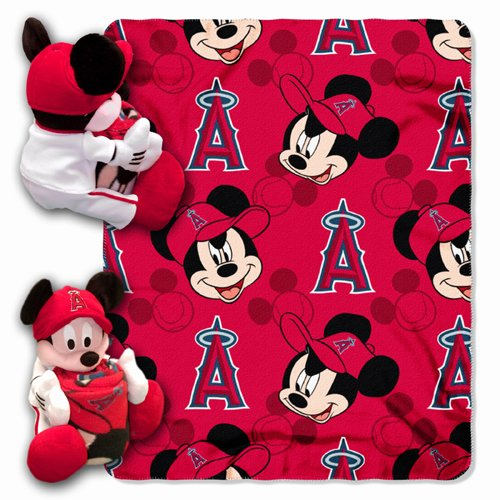 Mlb Los Angeles Angels Mickey Mouse Pillow With Fleece Throw Blanket Set front-848861