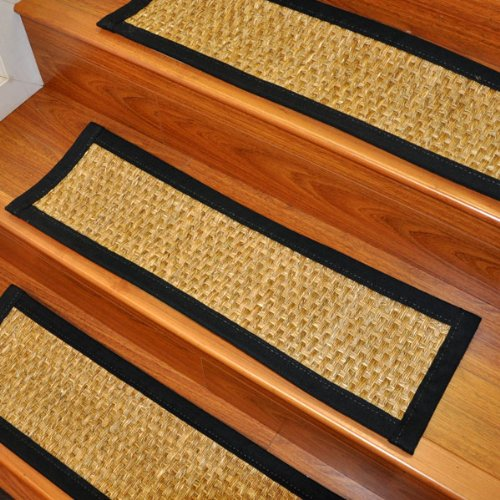 """Carpet Stair Treads and Rugs 9"""" x 29"""" - Alps Mountain Grass Natural Fiber, Black Cotton Binding (Custom Size and Color Available / Set of 4)"""